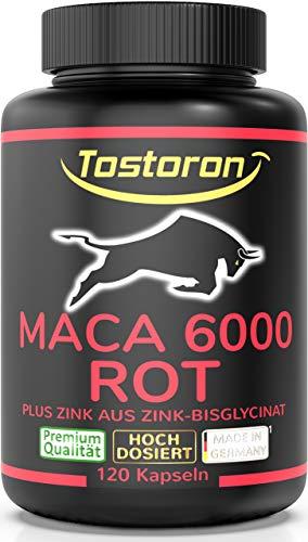 Tostoron MACA 6000 ROT extra stark + hochdosiert - hol dir den TOSTORON HAMMER direkt nach Hause! 120 Kapseln...