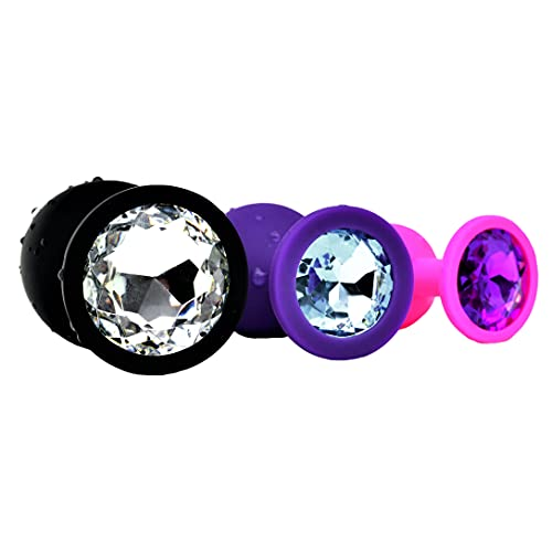 Belmalia 3x Anal-Plug Silikon Set Ø 30 mm, Ø 35 mm, Ø 45 mm S+M+L Butt-Plug Pink + Lila + Schwarz