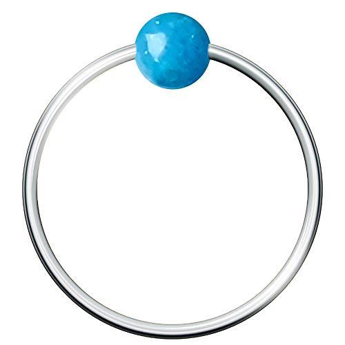 Hoop Piercing Ring mit Heil- und therapeutischem Edelstein dünn Sterling Silber 925er Körperschmuck Ohr- und...