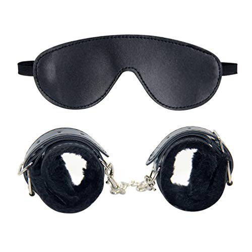 VALICLUD Augenbinde Und Handschellen Schlaf Augenmaske Leder Verstellbare Handgelenksmanschetten für Sexspiel