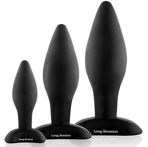 Long.Session® Analplug Set aus hautfreundlichem Silikon für Frauen und Männer in drei Größen Ø2,8cm...