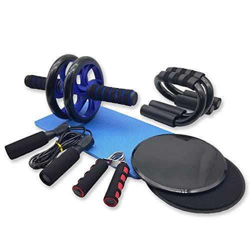 Azeekoom 8 in 1 Ab Wheel Bauchtrainer Set - Abdominal Roller Bauchroller + Anti-Rutsch-Knieschützer + 2...
