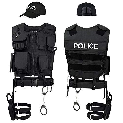 Black Snake SWAT FBI Police Security Kostüm inkl. Einsatzweste, Pistolenholster, Handschellen und Baseball...