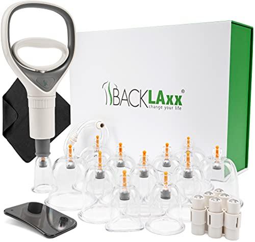 BACKLAxx® Schröpfset mit Vakuumpumpe - 12 Schröpfgläser aus Kunststoff zur Faszientherapie und Massage...