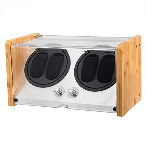 KJHGMNB Uhrenbeweger Box für Automatikuhren oder Rolex Paar Größe, Kunstfertigkeit 100% Bambus-Holz, AC...