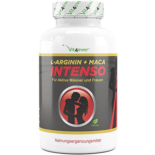 Vit4ever® L-Arginin + Maca Intenso 240 Kapseln - Extra stark mit 9800 mg pro Tagesdosierung - Hochdosierte...