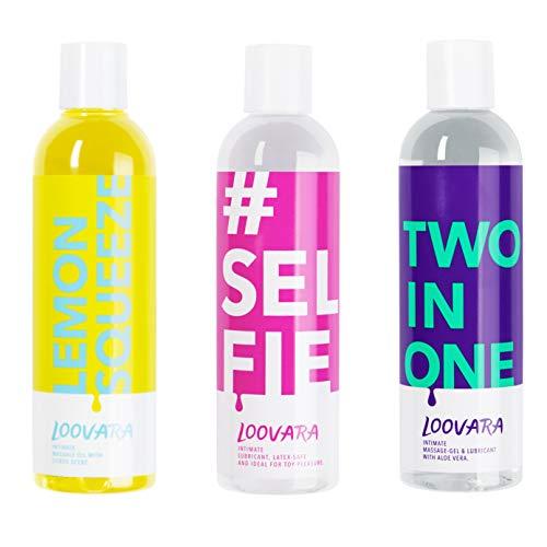 Loovara Vorteilspack 3x 250ml - Gleitgel und Massageöl im günstigen 3er Set – pflegendes Gel und Öl im...