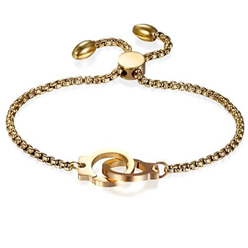 JewelryWe Schmuck Damen Armband mit Handschellen, Edelstahl Charm-Armband Armkette Verstellbar Armkettchen...