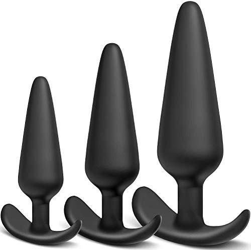 Premium Analplug Set für Frauen und Männer - Klein+Medium+Groß Silikon Buttplug Fetisch Masturbation Anal...