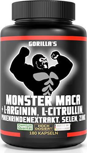 GORILLA'S MONSTER MACA extra stark + hochdosiert - mit Gorilla's geht's ab! 180 Kapseln Maca Wurzel Extrakt...