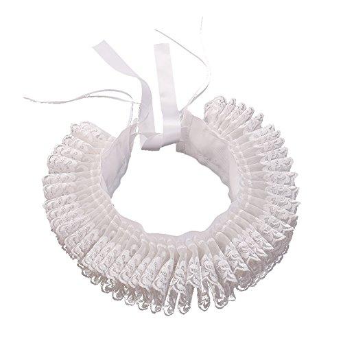 BLESSUME Ruffle Kragen Renaissance Rüsche Cosplay Halsband (Weiß)