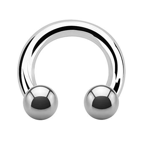 Treuheld | Groer Hufeisen Piercing Ring | 4mm x 14mm | Kugeln 8mm | Chirurgenstahl | Silber | Circular Barbell...