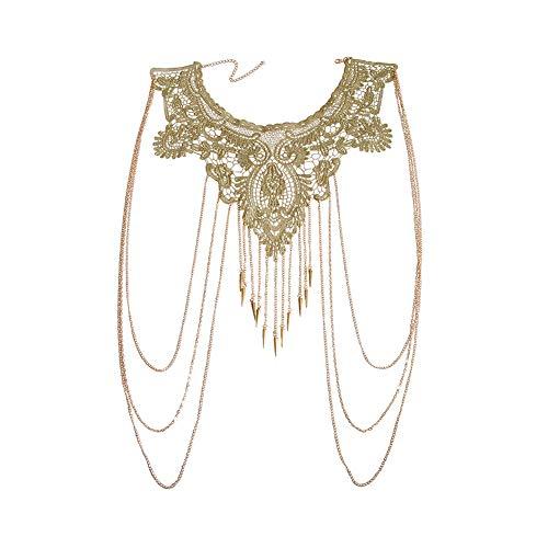 Amorar Körperkette Schmuck Gold Spitze mehrschichtig Quaste Halskette Bauchkette Bikini Strand Körper Bauch...