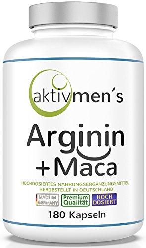 aktivmen´s Arginin + Maca hochdosiert - für stark aktive Männer, von Experten* geprüft - 100% vegan, 180...