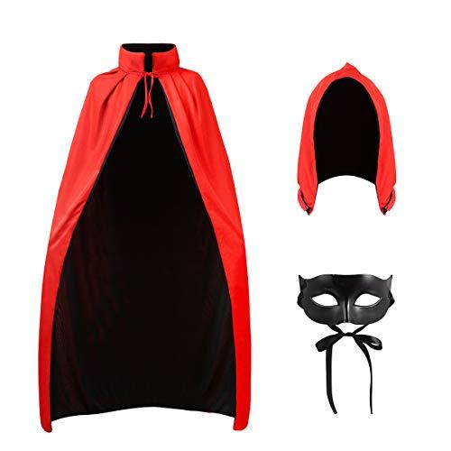 CLISPEED Halloween Vampir Kostüm Cape Cosplay Outfit Stehkragen Erwachsenen Mantel Prop mit Maske und...