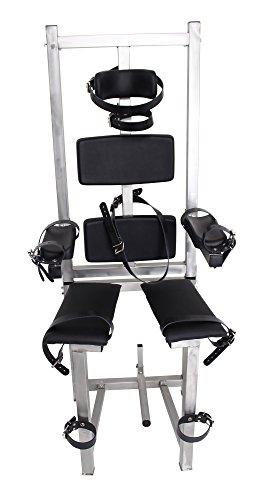 Sklavenstuhl aus hochwertigem Edelstahl mit Fickmaschine und robusten Lederriemen (Mit Fickmaschine)