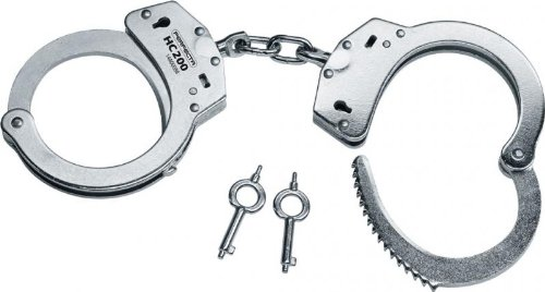 PerfectA Handschelle HC200 Standart Stahlfesseln mit Kette, Silber, One Size