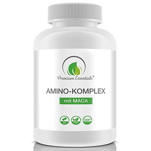 Amino-Komplex + Maca, 300 Tabletten á 1000mg (Vegan), Alle 18 Aminosäuren inkl. aller 8 essentiellen...