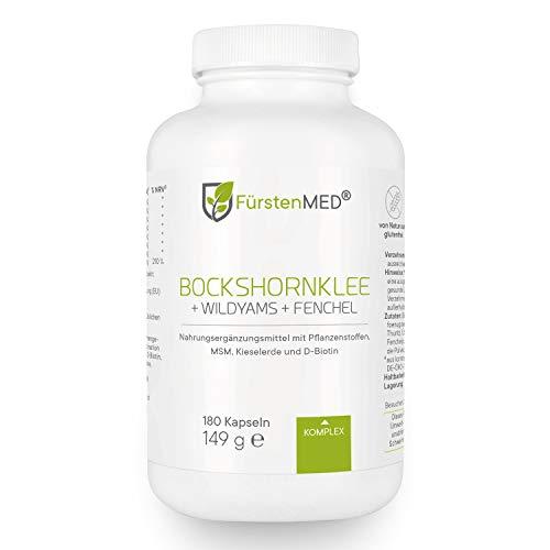 FürstenMED® Bockshornklee Kapseln + Wild Yams (Yamswurzel) mit Fenchel, MSM, Kieselerde, Biotin - Vegan &...