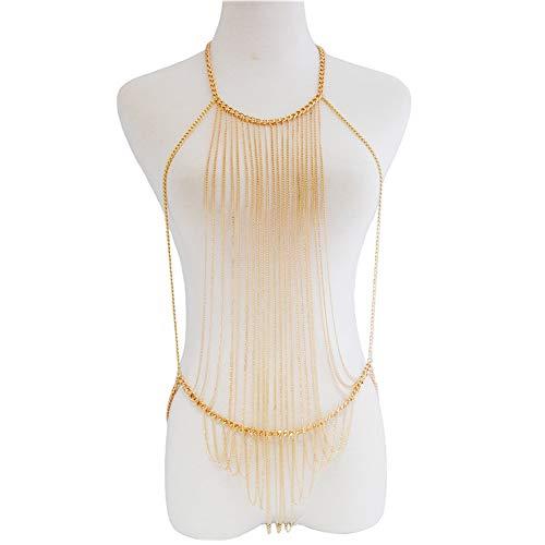 Amorar Sexy Dessous Set, Damen-Bodysuit Körperkette Kettenschmuck Bikini Lange Brustkette Strand Körper...