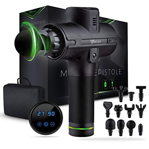 Wellax Massagepistole - Leistungsstarke Massage Gun mit 11 Massageköpfen [2600 mAh - 10h Laufzeit] - Massage...