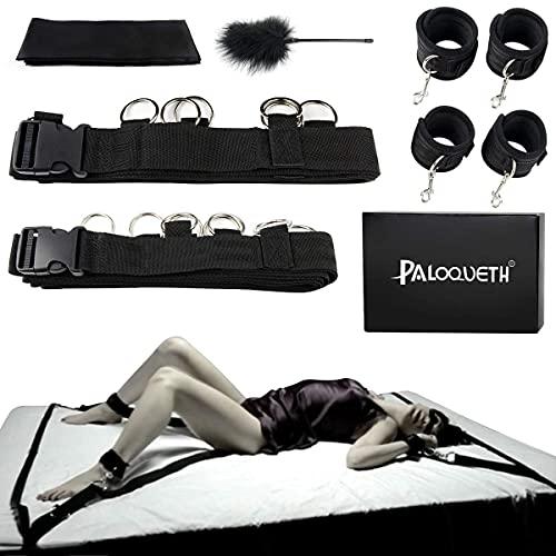 PALOQUETH BDSM Sex Bondage Set, Fessel-Set für Bett, SM Sexspielzeug mit Seile Handschellen und Fußfesseln...