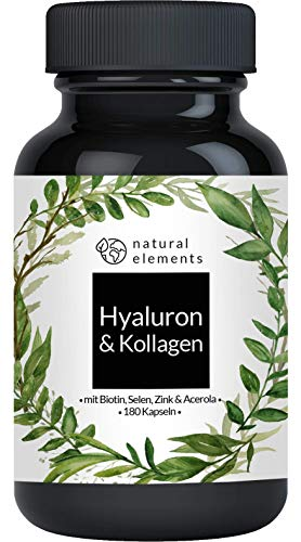 Hyaluronsäure Kollagen Komplex - 180 Kapseln - Angereichert mit Biotin, Selen, Zink, Vitamin C aus Acerola &...