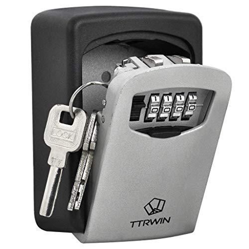 TTRWIN Schlüsselbox Schlüsselsafe Schlüsseltresor, mit 4-stelligem Hochcodeschloss Große Schlüsselbox,...