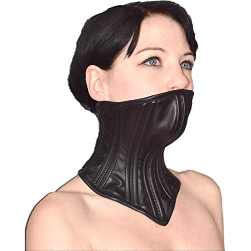 Verschließbares Bondage Halskorsett mit Kinn aus Kunstleder