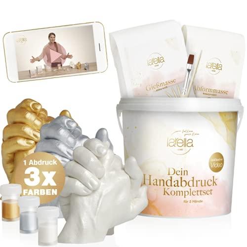 larella® 3D Handabdruck Set für Paare mit 3 Farben [ MADE in GERMANY ] Gipsabdruckset Hände mit Alginat,...