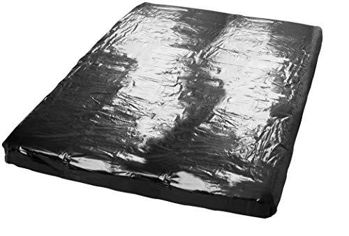 Erotik-Set- Latex Lack Spannbettlaken Laken schwarz,abwaschbare Spielwiese Größe 220 x 220 cm - Ideal...