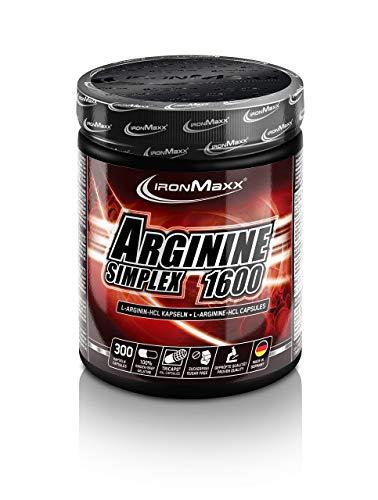 IronMaxx Arginin Simplex 1600 - 300 XXL Kapseln - Hohe Konzentration von L-Arginin Aminosäuren - Für...