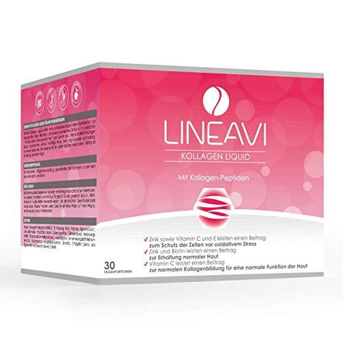 LINEAVI Kollagen Liquid, Trink-Kollagen, mit Kollagen-Peptiden, Acerola, Zink, Vitamin C, Vitamin E, Biotin,...
