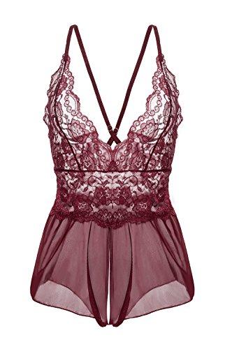 Yidarton Damen Nachtkleid Sexy Babydoll Dessous Set Erotik Lingerie V-Ausschnitt Kleid Spitze Unterwäsche (S,...