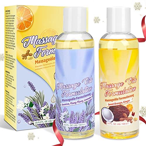 Massageöl-Set - 100% Naturrein Massage Öl mit Angenehmen Düften, Sinnliches Massageöl für Massage und...