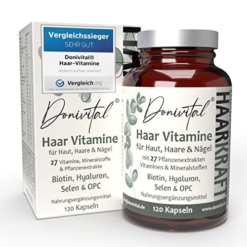 Donivital® Haar-Vitamine - VERGLEICHSSIEGER 2021 - 27 hochdosierte Vitalstoffe - Biotin, Hyaluron und weitere...
