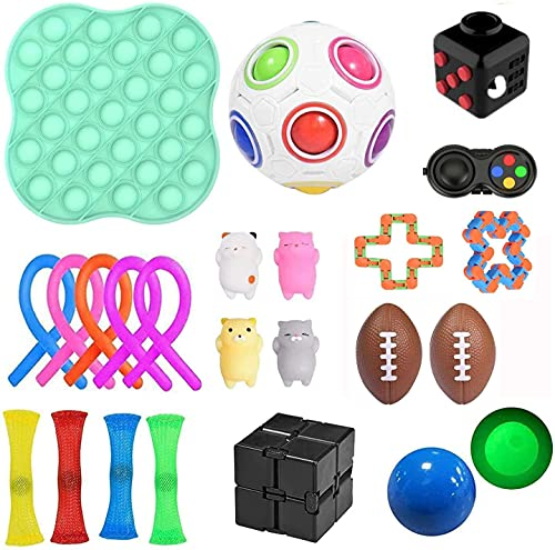 PATISZON 23 Stück Fidget Sensory Toy Set, Sensory Zappeln Anti Stress Spielzeug, Angst Relief Finger Toys...