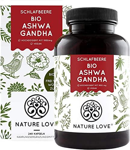 NATURE LOVE® Bio Ashwagandha - Hochdosiert mit 1950mg je Tagesdosis - 240 Kapseln - Hochwertige original...