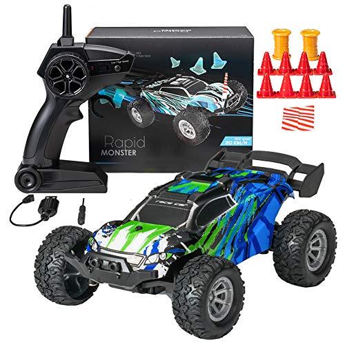 DreiWasser Ferngesteuertes Auto, Mini RC Offroad Spielauto 2WD 2,4GHz mit Fernbedienung, LED Licht (Grüne)