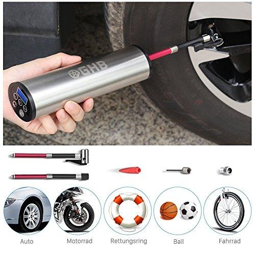 GHB Mini Auto-Luftpumpe Elektrischer Luftverdichter für Fahrrad Ball Ballon 150 PSI Portabel Aufladbar mit...