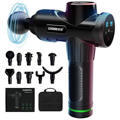 GOBEES Massagepistole für Nacken Schulter Rücken, Massage Gun Upgrade-Version mit 10 Massageköpfen und 30...