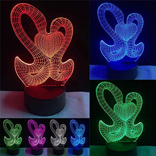 3D LED-Dildo Swans mit Love Heart 7 Farben ändern Visual Night Light Valentine S Day Gifts for Sweetheart...