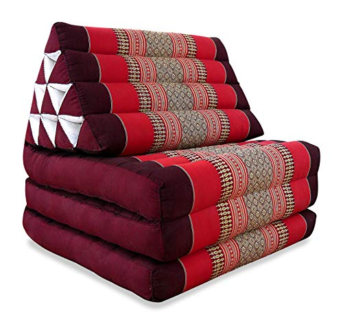 livasia Thaikissen mit 3 Auflagen, Kapok Dreieckskissen, Sitzkissen, Liegematte, Thaimatte (rubinrot)