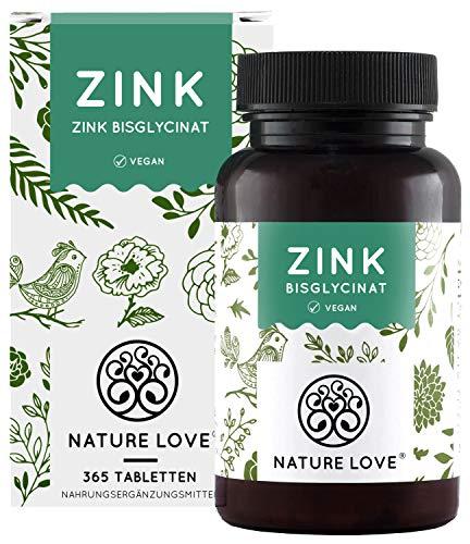 NATURE LOVE® Zink - 365 Tabletten (1 Jahr) - Hochdosiert (25mg): Zink-Bisglycinat (Zink Chelat) von Albion®...