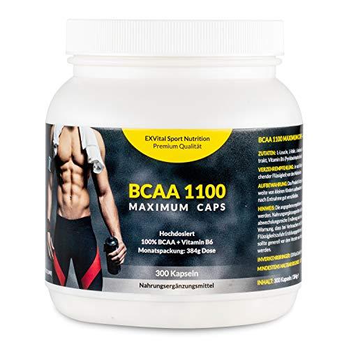 EXVital BCAA 1100 Maximum Caps, Aminosäure, 300 Kapseln in Spitzenqualität, mit Vitamin B6, 1er Pack (1 x...