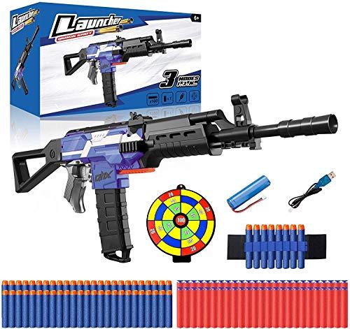 Elektrische Spielzeug Pistole mit 12 Clip Magazin, Automatische Blaster für Nerf Pfeilen mit 100 Munition, 3...