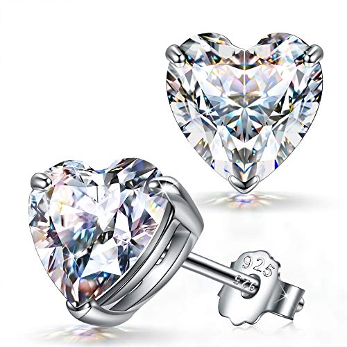 FANCI Ohrringe Damen Herzform Ohrstecker Geschenke für Frauen Muttertagsgeschenk 925 Silber Ohrringe für...