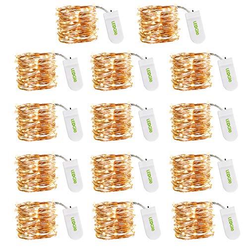 LEDGLE LED Lichterkette Batteriebetrieben, Kupferkabel 2M 20 LEDs LED Lichterketten, IP67 Wasserdichte 3000K...