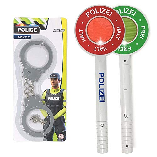 DDS Polizei Handschellen & Polizeikelle Kinder Set - Polizeiset Metall Handschellen und Kelle als Spielset  ...