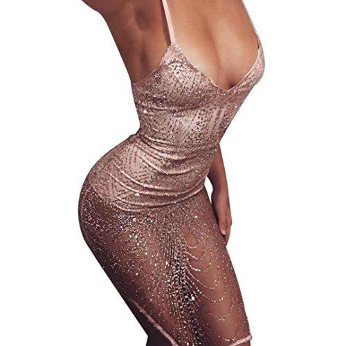 Damen Kleider, GJKK Damen Reizvoller Ärmellos Sling V-Ausschnitt Bodycon Gatsby Kleid Art Deco Pailletten...